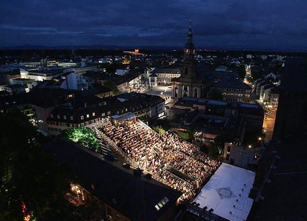 Nibelungen Festival of Worms - Aerial photo at night